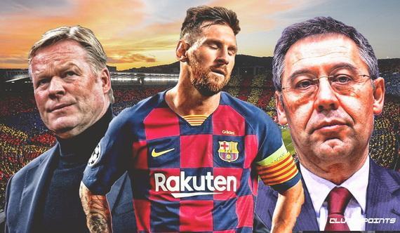 Chủ tịch Bartomeu (phải) sẽ ra đi nếu Messi ở lại sân Nou Camp cùng HLV Koeman