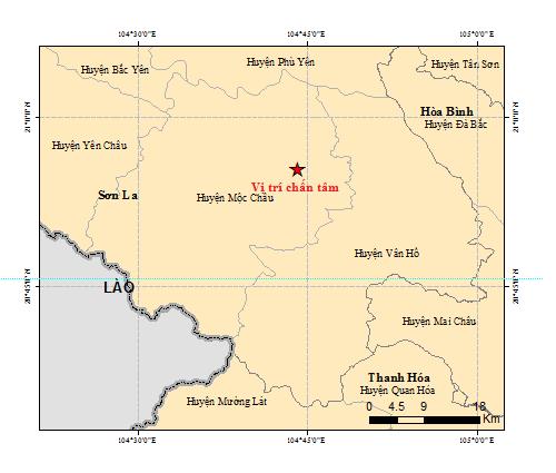 Hình ảnh vị trí chấn tâm của trận động đất mạnh 4.0 tại Sơn La sáng 28/7