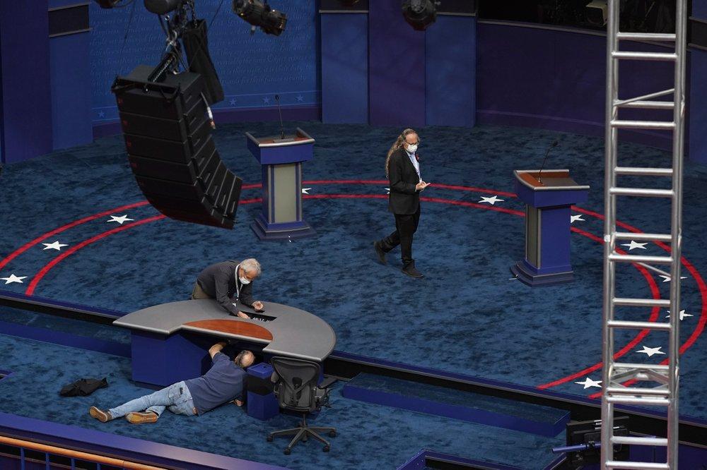 Hình ảnh không khí khán phòng trước giờ tranh luận giữa Trump-Biden