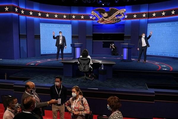 Hình ảnh trước trận tranh luận tổng thống cuối cùng giữa Trump-Biden
