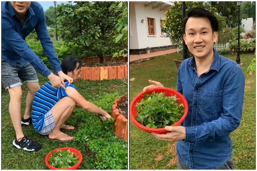 Hoài Linh chăm chỉ làm vườn ở nhà thờ Tổ