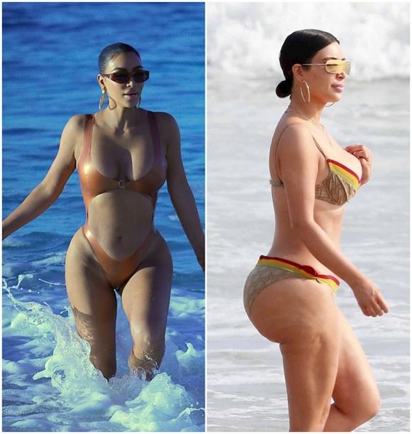Kim Kardashian khoe thân hình phồn thực trên biển