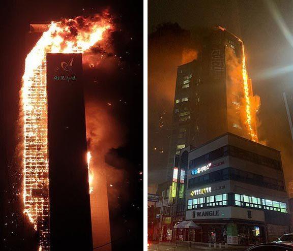 Cao ốc 33 tầng ở Hàn Quốc đùng đùng bốc cháy giữa đêm