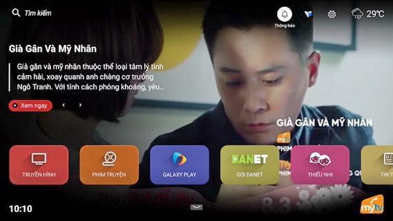 Giao diện trang chủ ứng dụng truyền hình MyTV